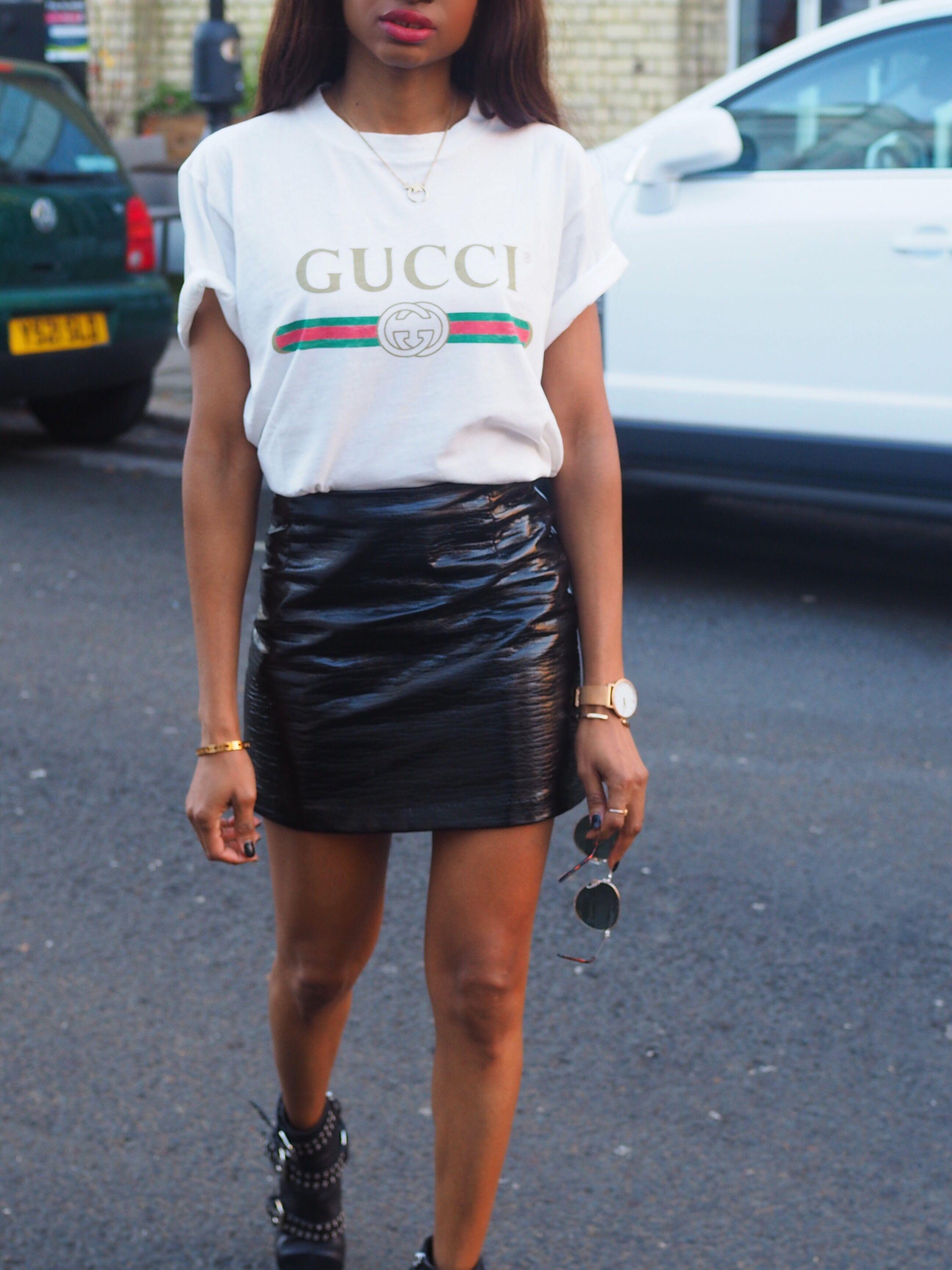 43266e2fb100 gucci t-shirt womens-ootd-gucci logo-gucci-ss17-gucci -autumn-winter-2017-gucci paris fashion week-asos-black -leather-skirt-topshop-black-pvc-leather-skirt- ...