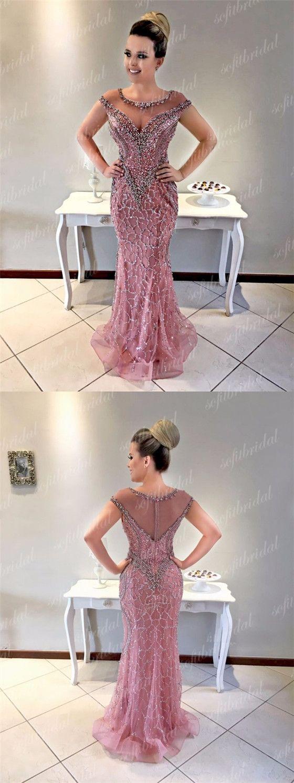 Round neckline rhinestone beaded long mermaid prom dresses prom