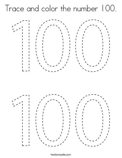 Trace and color the number 100 Coloring Page - Twisty ...