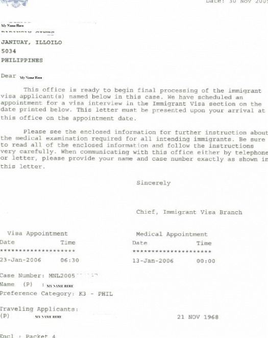 Ging Appointment Letter For Visa Interview Sample Examples Pdf