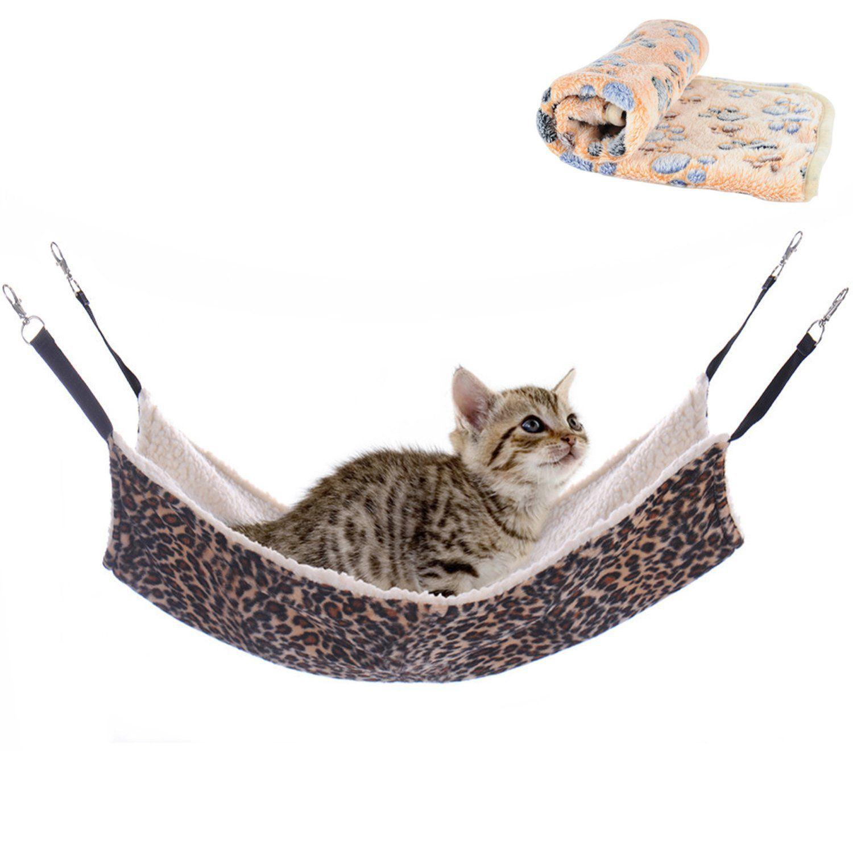 Wangstar Pet Cat Hammock Blanket Set Kitten Hanging Hammock For Cage Chair Corner Cat Cage Hammock For Rabbit Rat Small Do Cat Hammock Cat Cages Small Pets