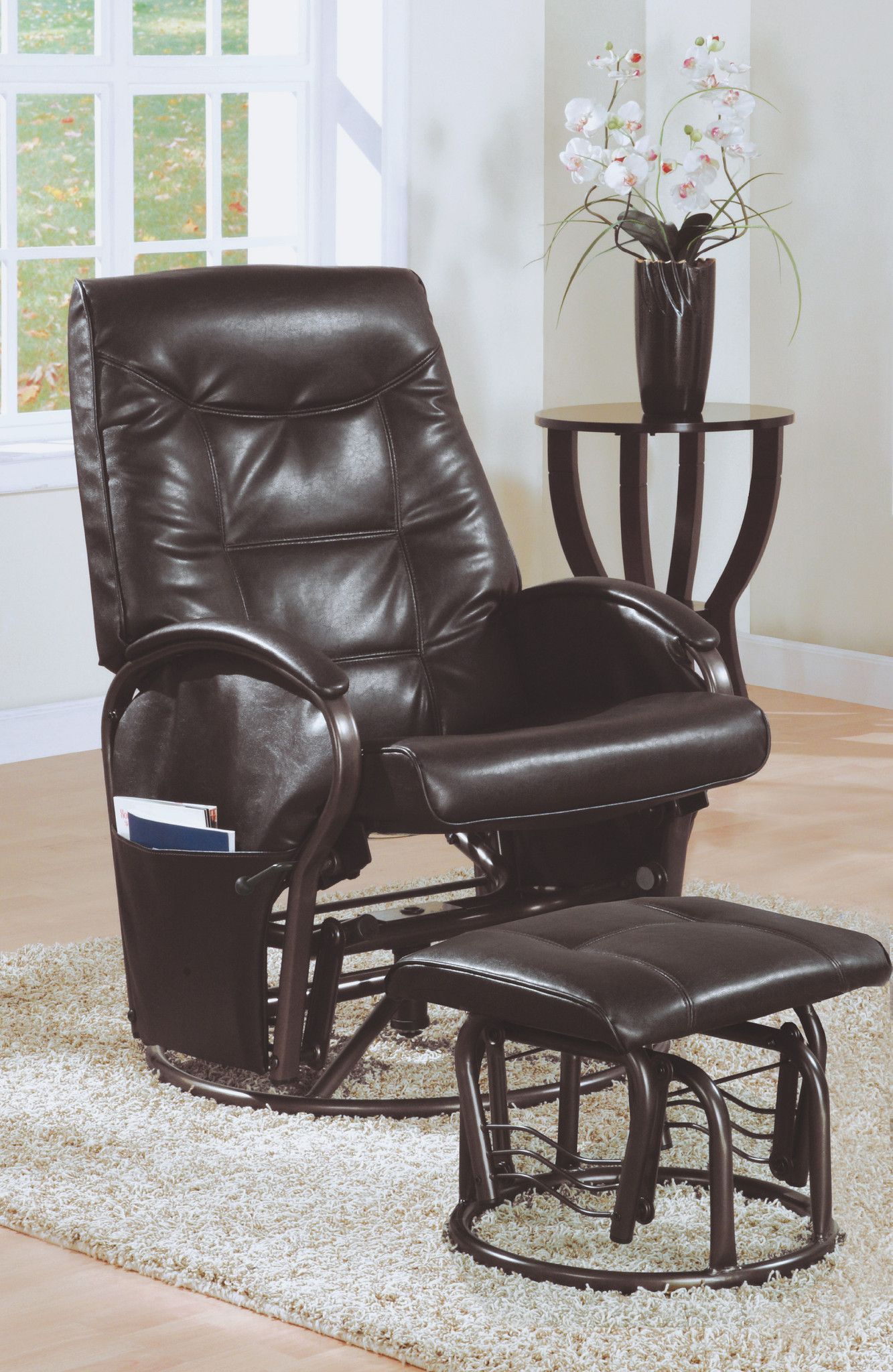 Swivel Rocker Recliner w Ottoman (Brown) Recliner with