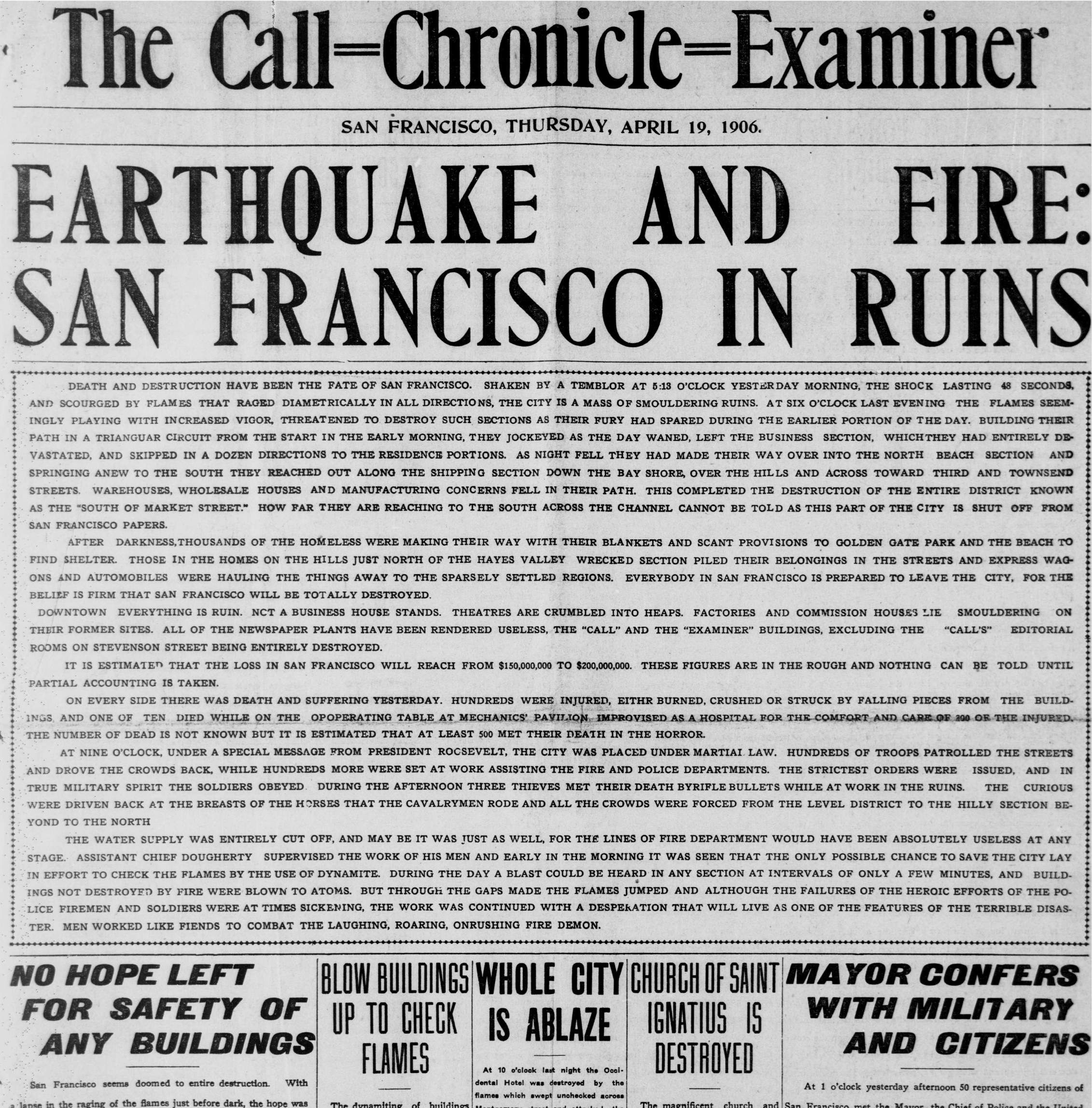 these three san francisco papers merged to put out one edition after the earthquake dated