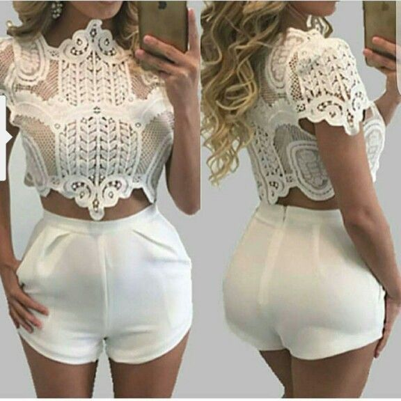Lace crop top+ cream shorts