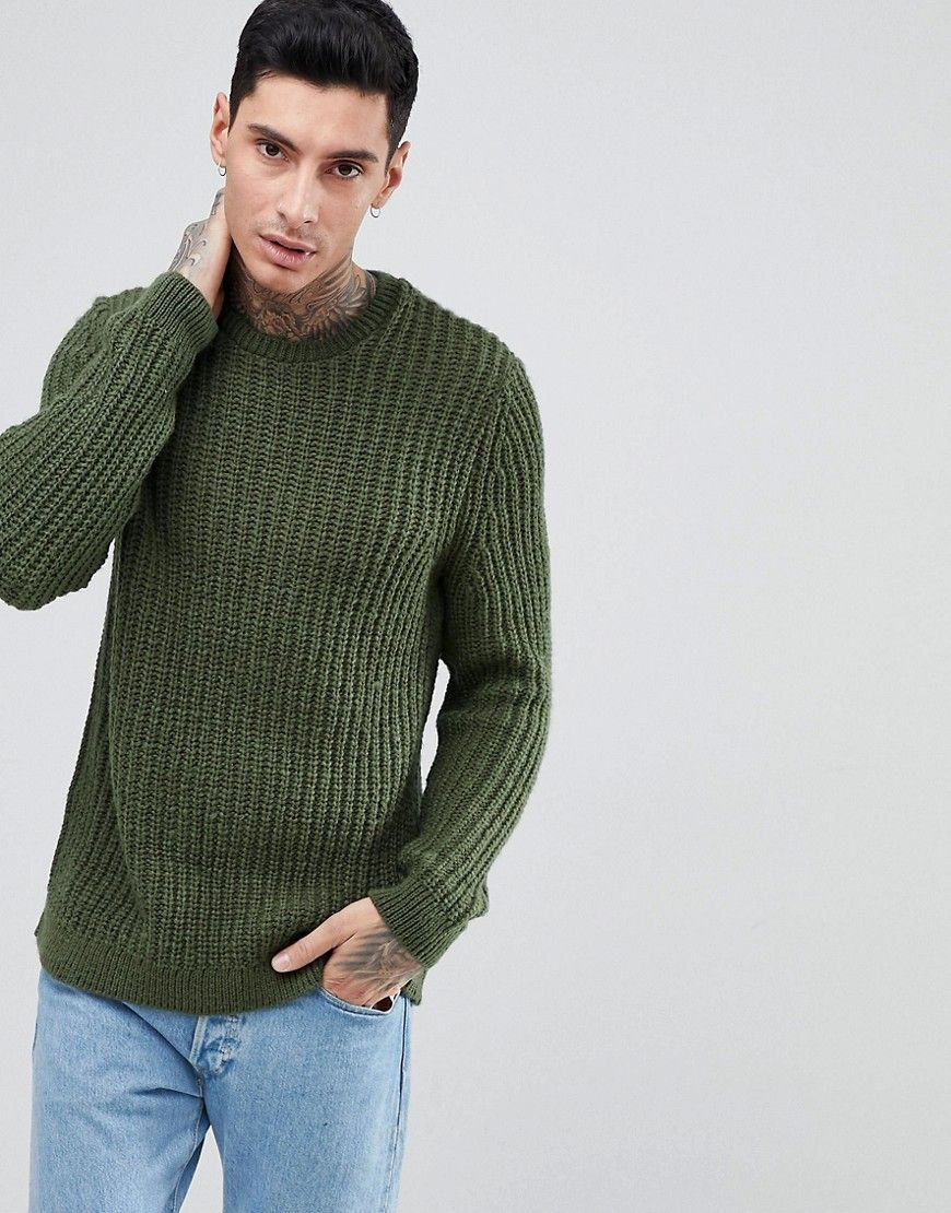 ASOS Fisherman Rib Sweater In Khaki , Green