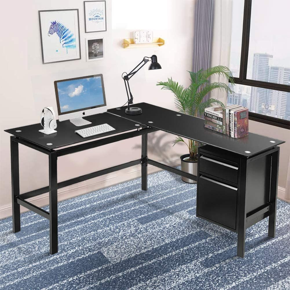 Invie L Shaped Desk Home Office Corner Desk Pc Laptop Table Workstation Glass Top Computer Desk In 2020 Office Desk Set Pc Desk Office Desk