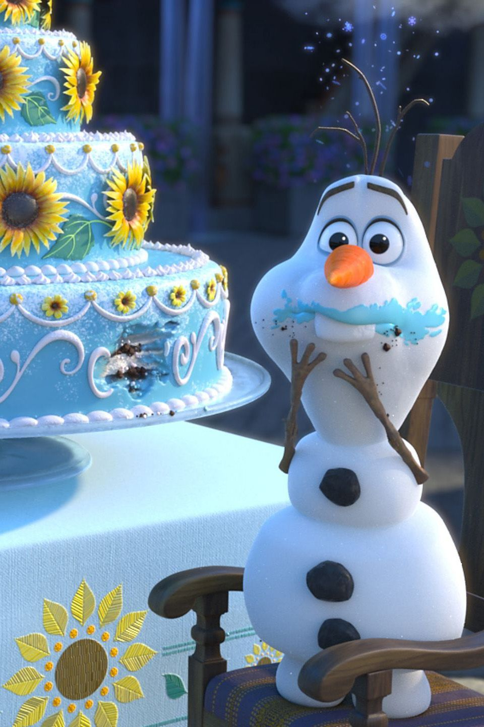"""Get a Magical Sneak Peek of Disney's New Short, Frozen Fever! We were all diagnosed with an affliction known as """"Frozen Fever"""" around this time last year, but now that means something totally different. Smash hit Frozen has inspired a short film, titled Frozen Fever, that will play in theaters before Cinderella. Elsa is preparing to throw Anna a birthday bash with all of her friends, including a cake-hungry Olaf. The seven-minute film will feature a new song, too!"""