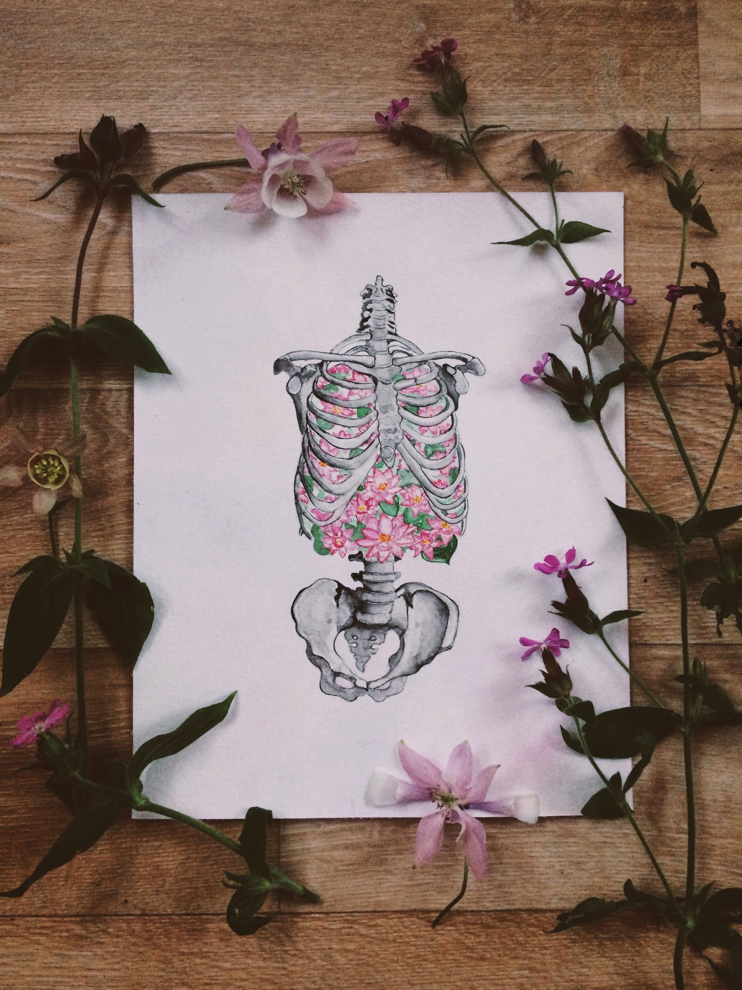 Ribs, lungs, flowers, skeleton, anatomy art, water lily in the lung ...