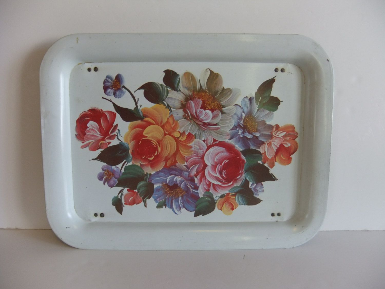Vintage lap Tray, Metal tray, Flower floral serving tray