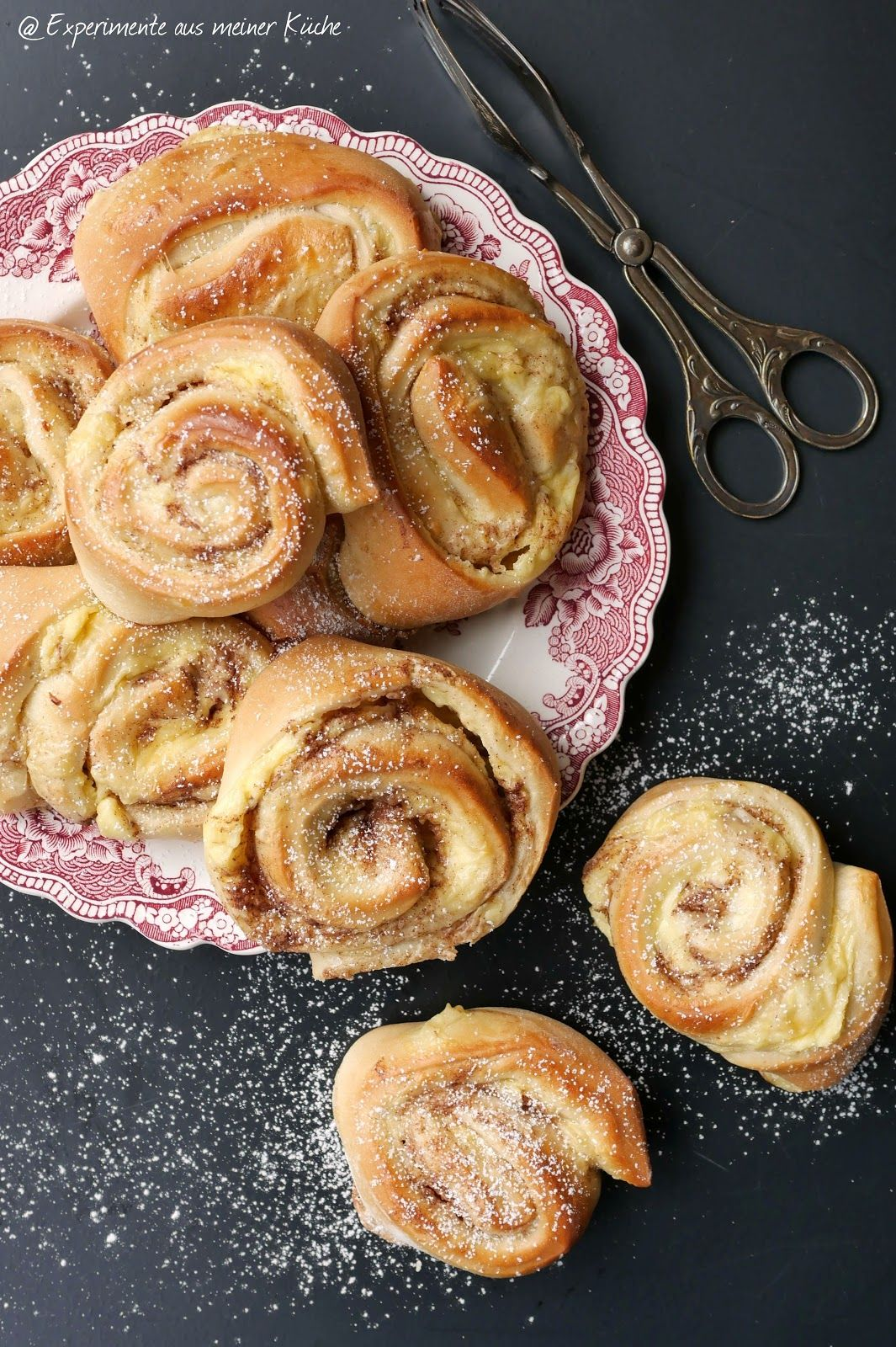 Hefeschnecken mit Puddingfüllung - Experimente aus meiner Küche #creamcheeserecipes
