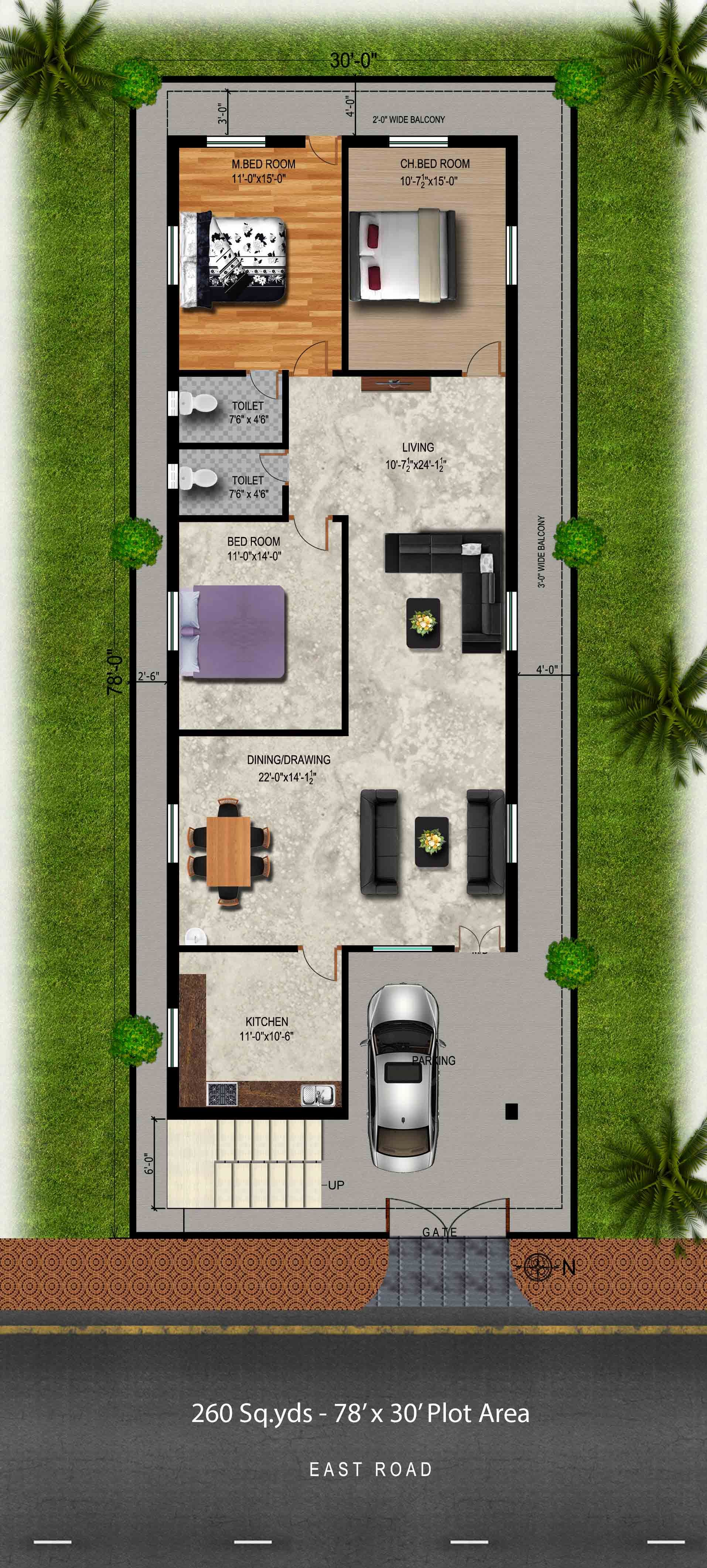 House design for 100 gaj - Download Free Plans 260 Sq Yds 30x78 Sq Ft East Face House 3bhk Elevation View