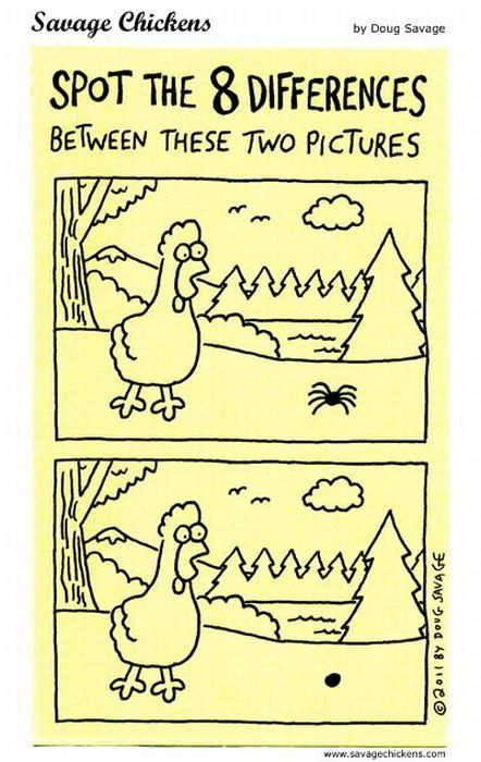 Spot the 8 differences - Savage Chickens