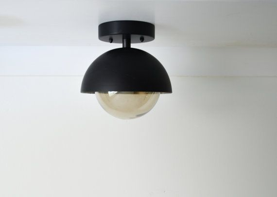 Smoked Dome flush mount lighting with glass by TripleSevenHome