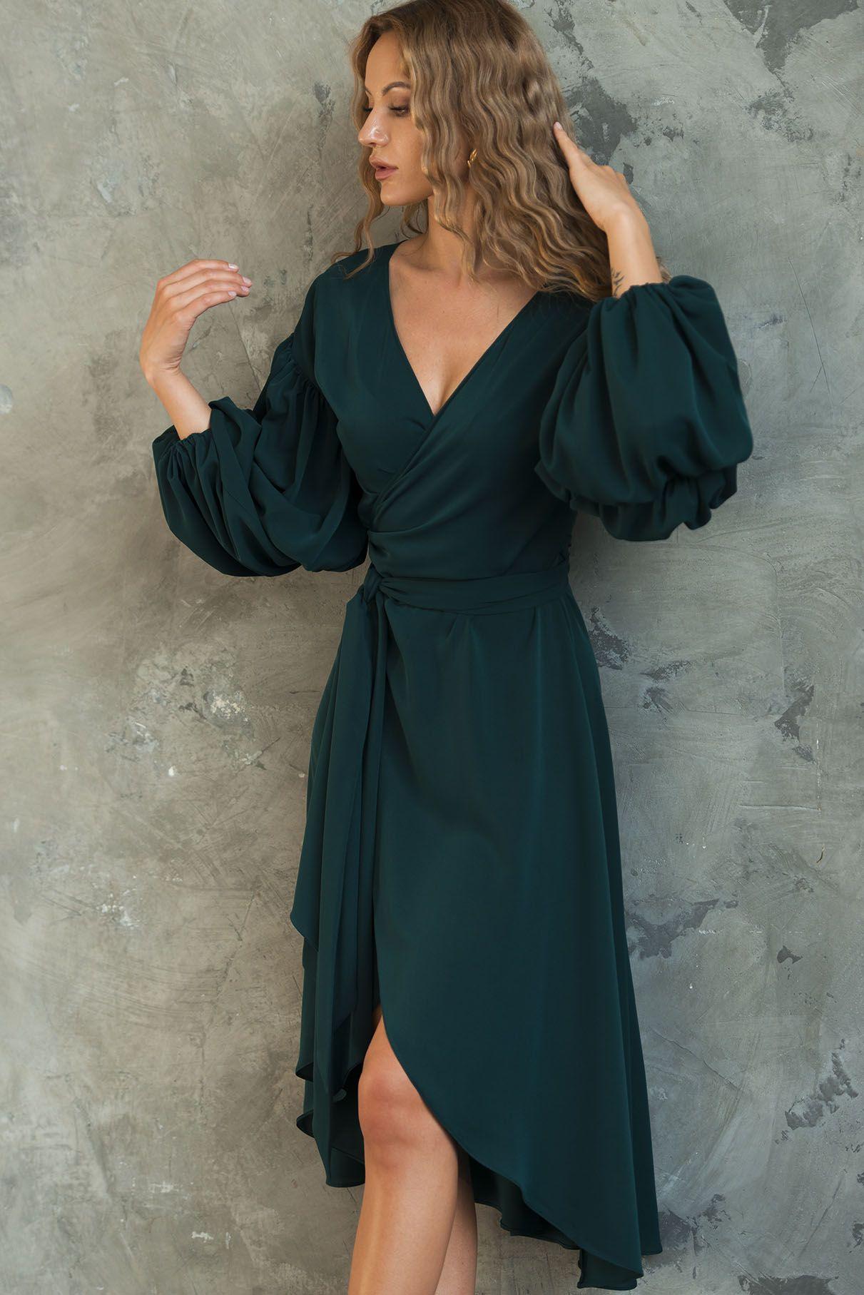 Emerald wrapover dress nice top to bottom fashion