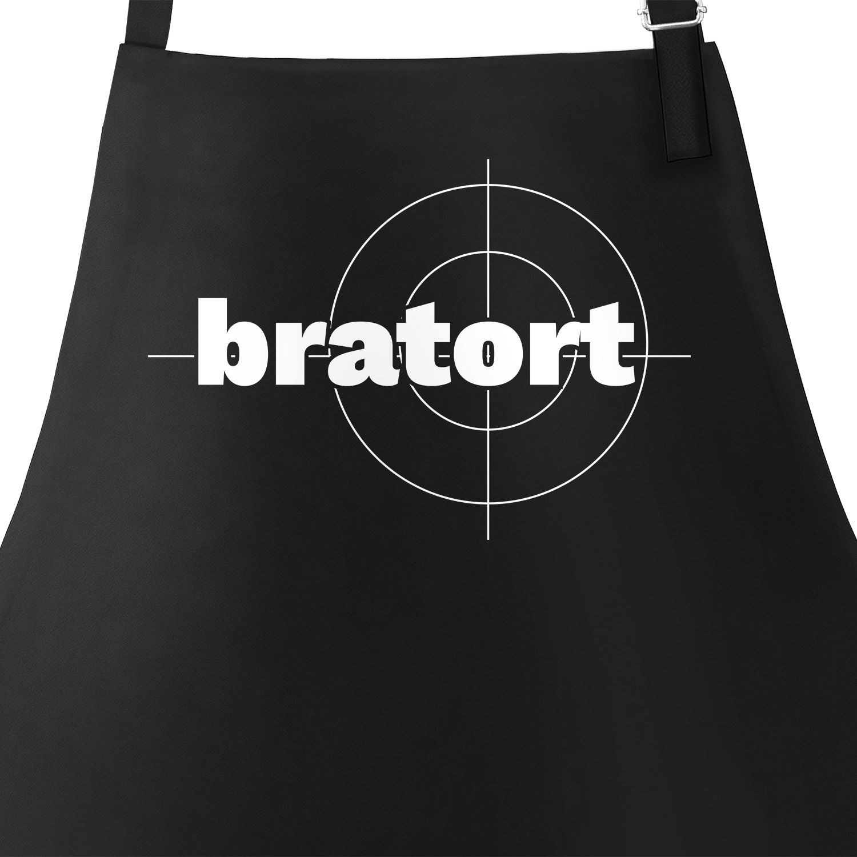 Bratort Grill-Schürze für Männer mit Parodie-Motiv Küchen-Schürze Moonworks