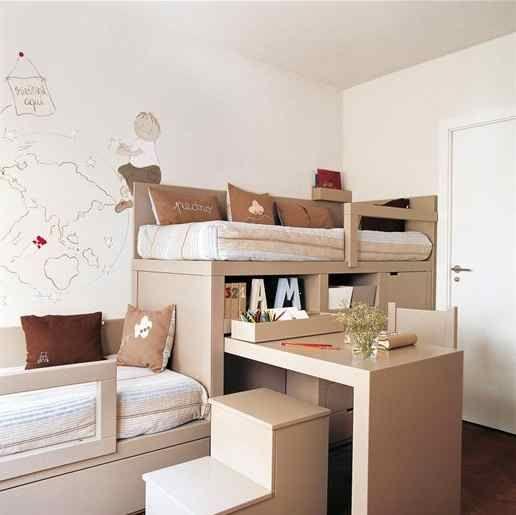 Aprovechando el espacio reducido dormitorio juvenil en - Habitacion infantil compartida ...