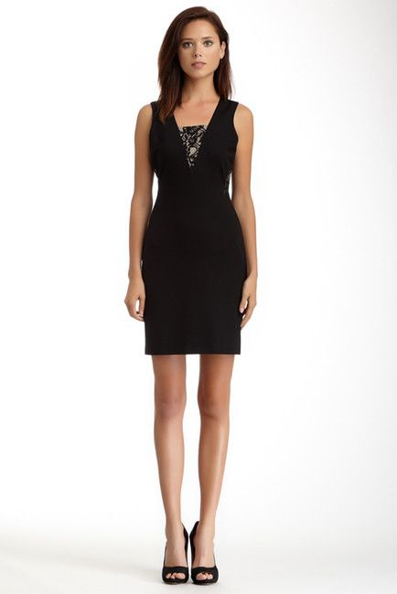 1.State Sleeveless Ponte LaceInsert Sheath Dress