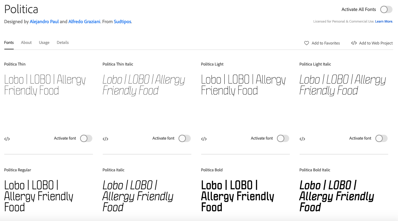 I like the think font for the logo Web project, Fonts