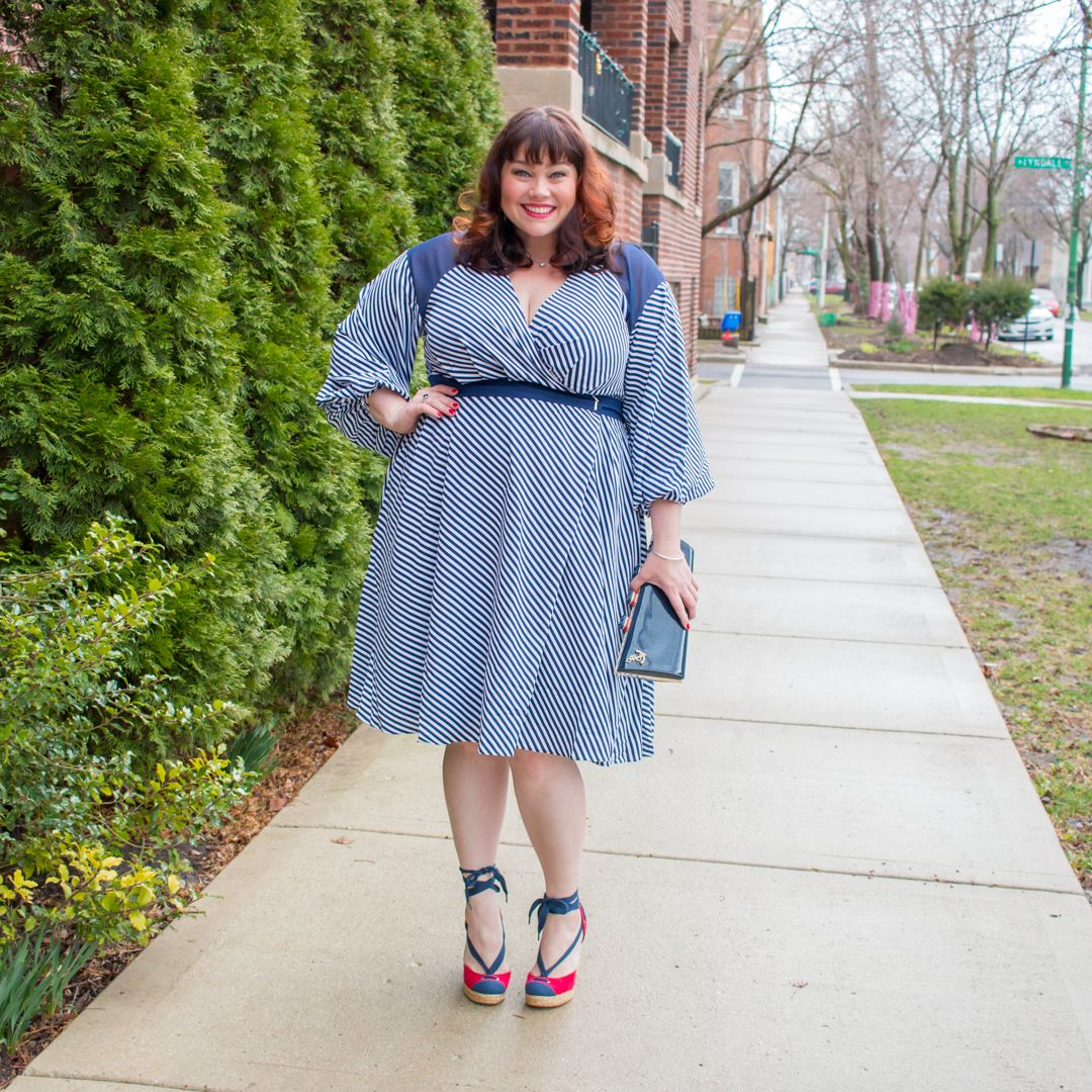 Style Plus Curves Plus Size Blogger in Striped Wrap Dress by Prabal ...