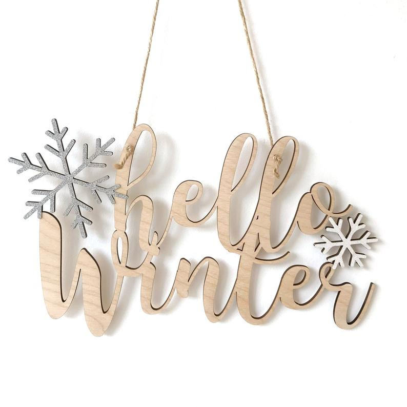 Hello Autumn Winter Birch Ply Hanging Wall Decoration Snowflake Home Decoration, Home Decor, House Warming Gift, Christmas Decoration #helloautumn
