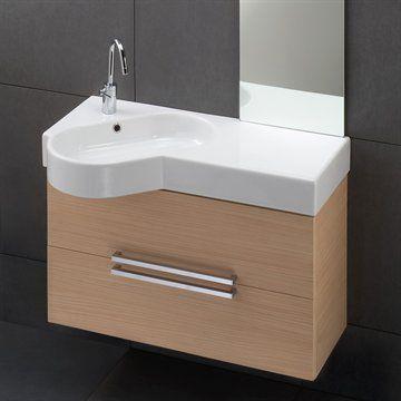 A-Wood 03D Badeværelsesmøbel i lyst træ med håndvask ...