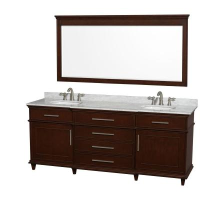 Wyndham Collection Berkeley 80 in. Double Vanity in Dark Chestnut with Marble Vanity Top in Carrara White, Oval Sink and 70 in. Mirror-WCV171780DCDCMUNRM70 - The Home Depot