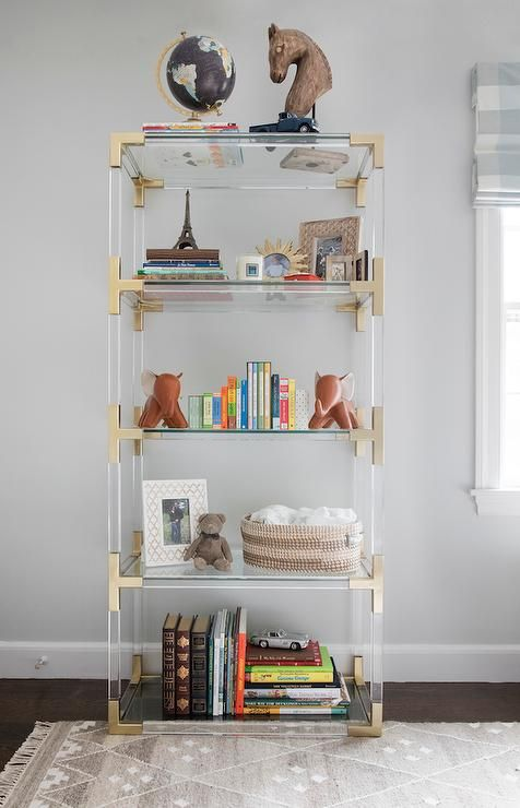 Boy Nursery With Lucite Bookcase