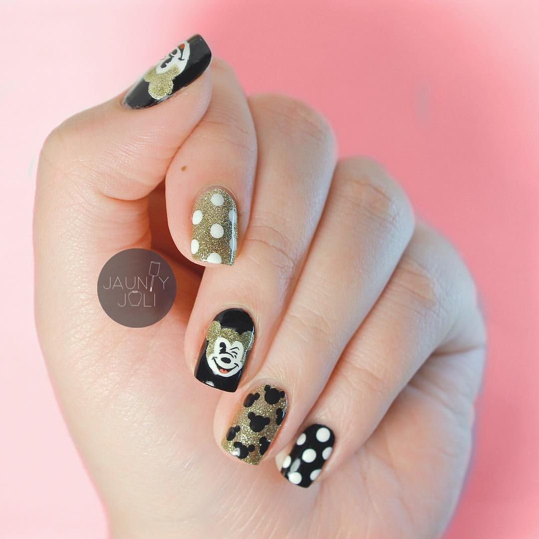 Black & Gold Mickey Mouse Nails | Nails: Art & Designs | Pinterest