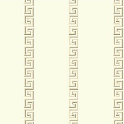 "York Wallcoverings Ashford Toiles Acropolis 27' x 27"" Stripe Roll Wallpaper Color: Beige/Off-white"