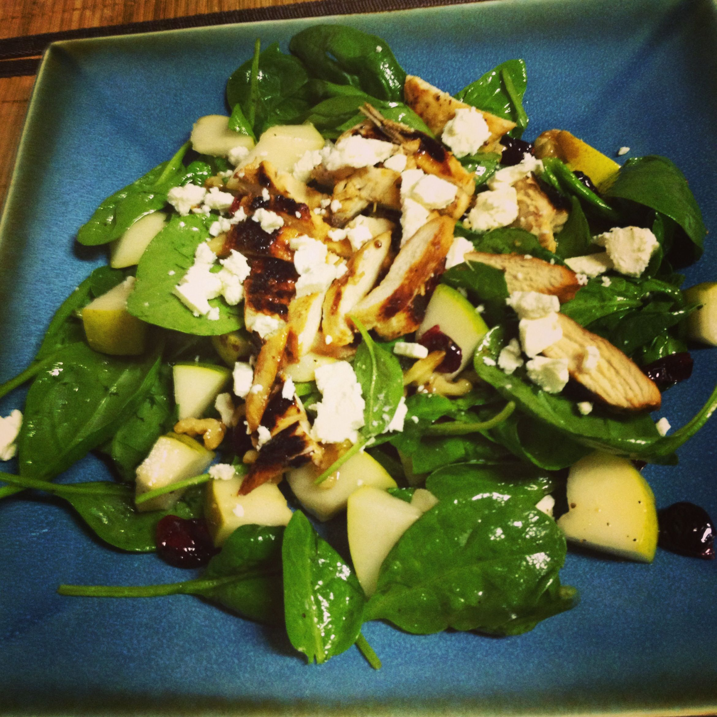 Cranberries, Walnuts, Feta, Pears, Spinach, And Pam Seated