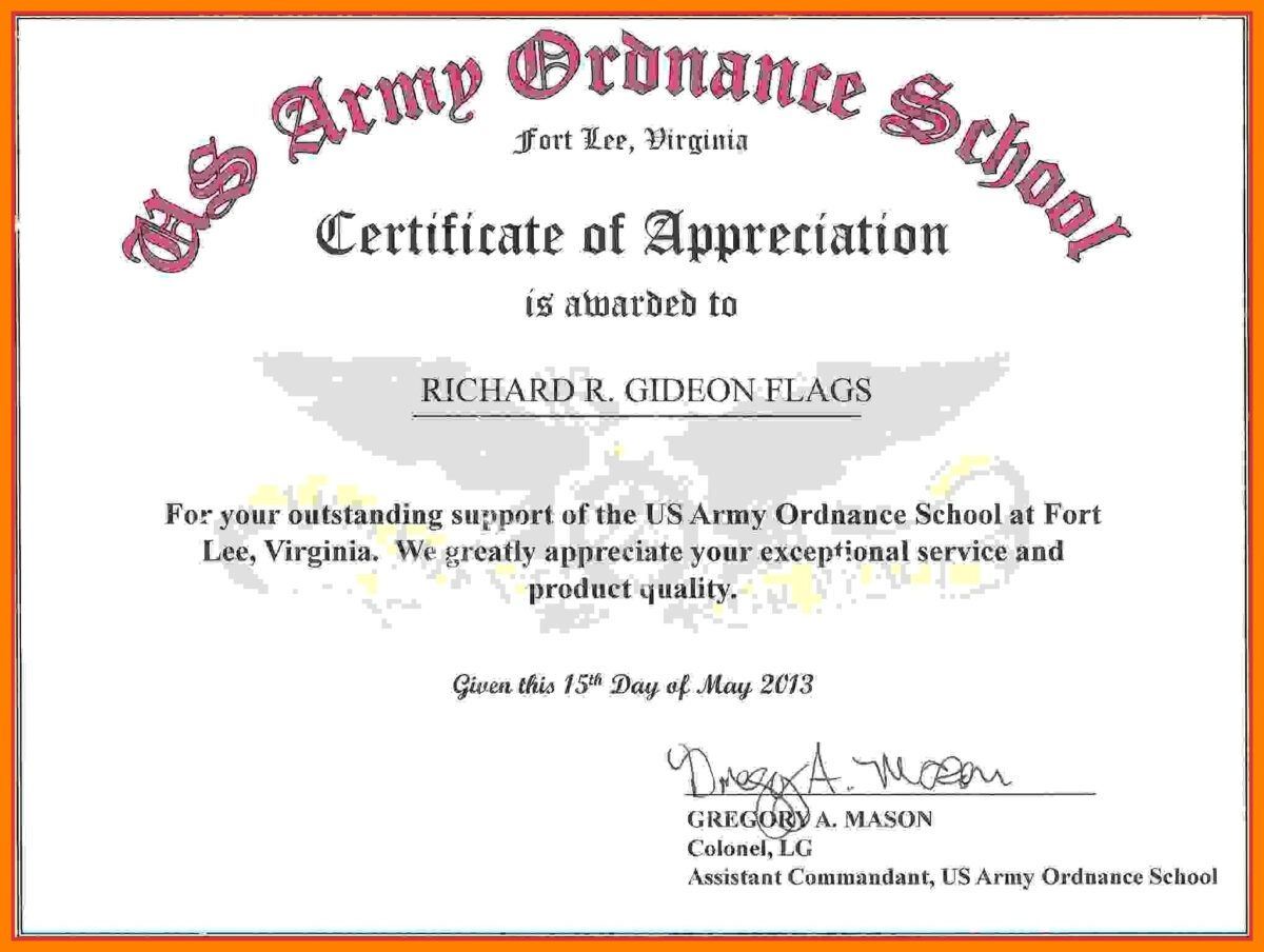 Sample Of Certificate Tomope Zaribanks Co In This Entitles The Bearer To Certificate Of Achievement Template Certificate Templates Certificate Of Achievement Army certificate of appreciation template ppt