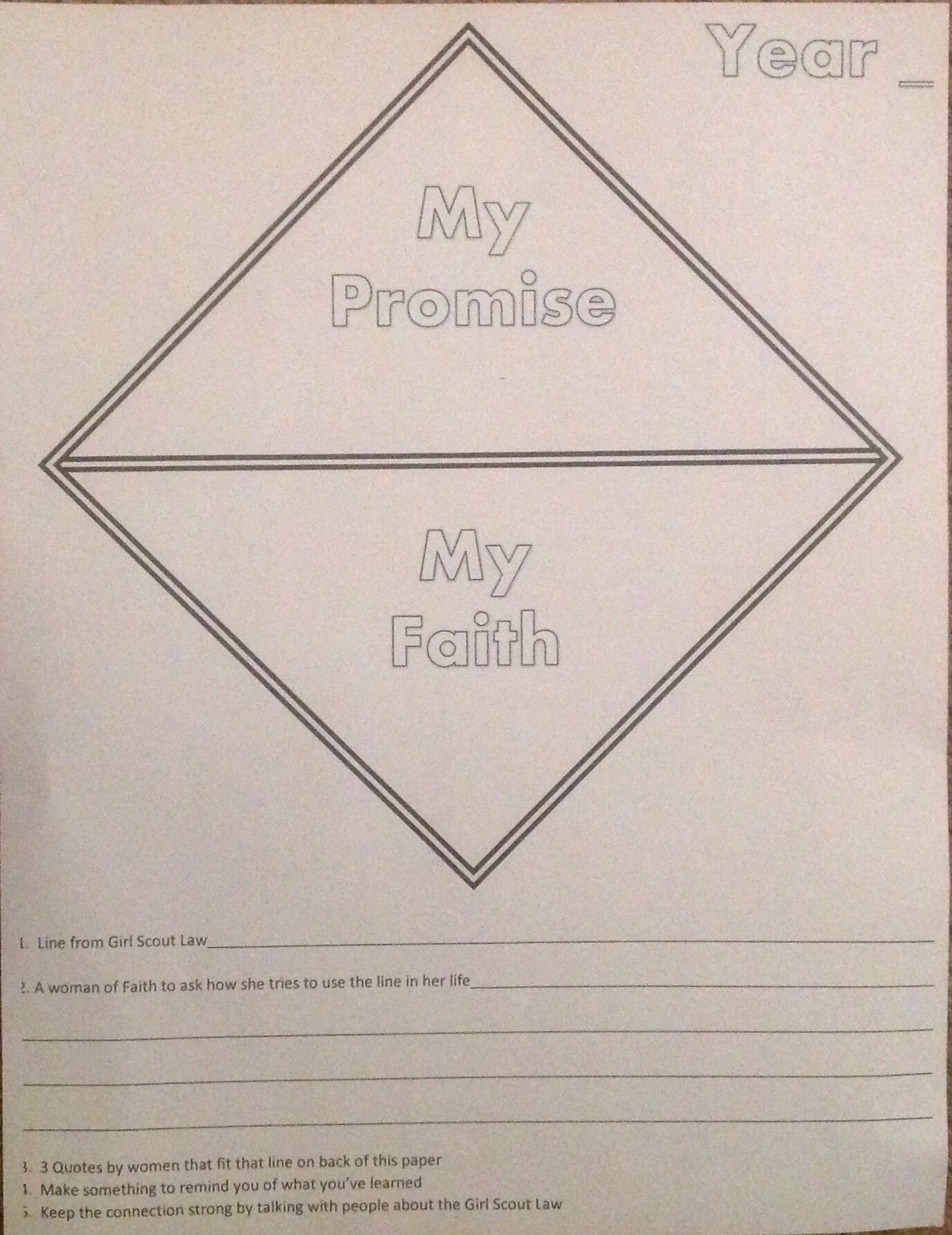 A Worksheet For Your Girl Scout To Fill Out And Color For
