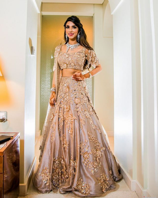 White Indian Wedding Dresses: Gold Lehenga, Manish