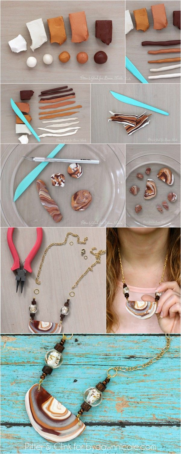 diy faux agate polymer clay necklace | polymer clay necklace