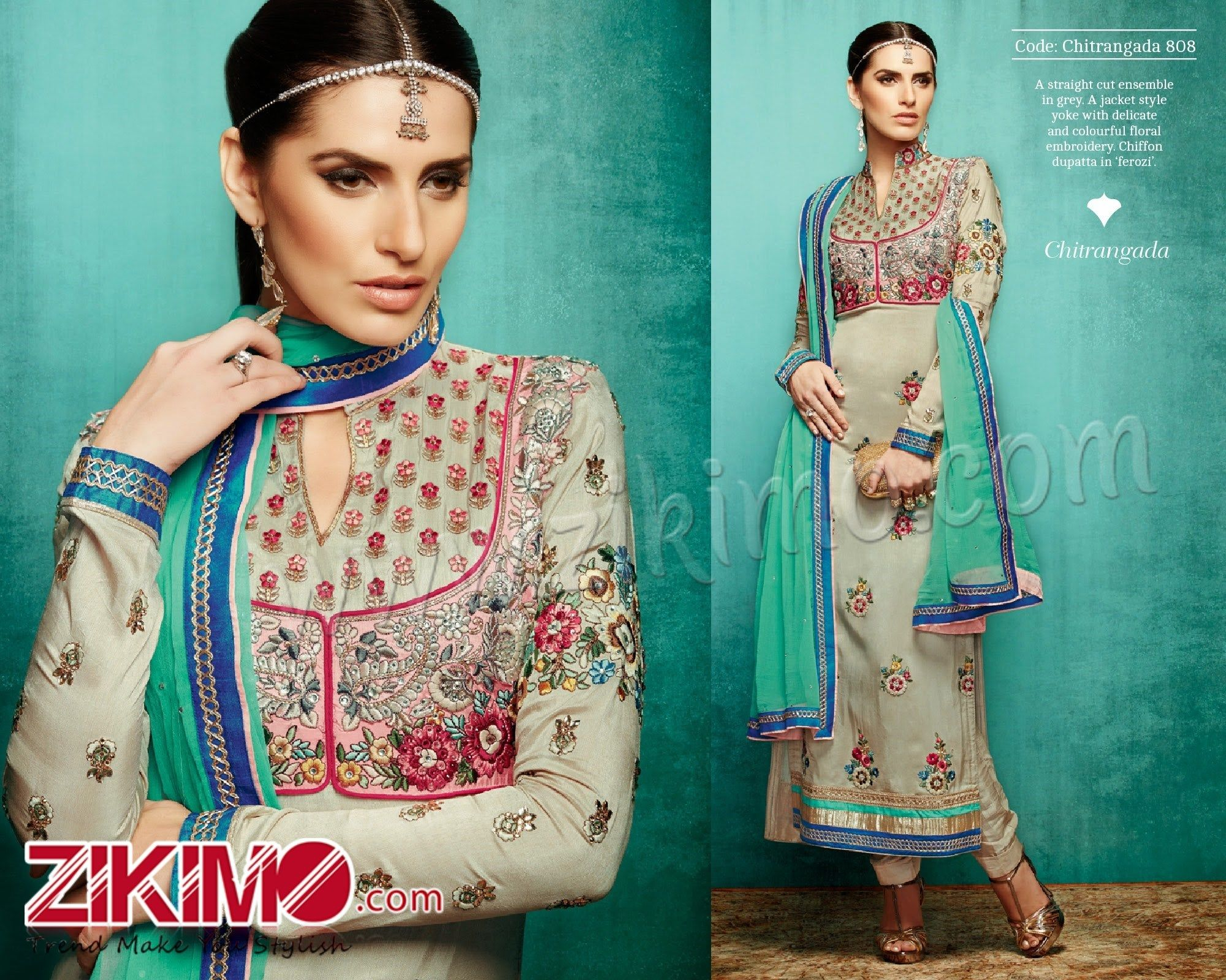 Kimora 808 Grey Heavy Embroidered Party Wear Suit | Indian Red ...