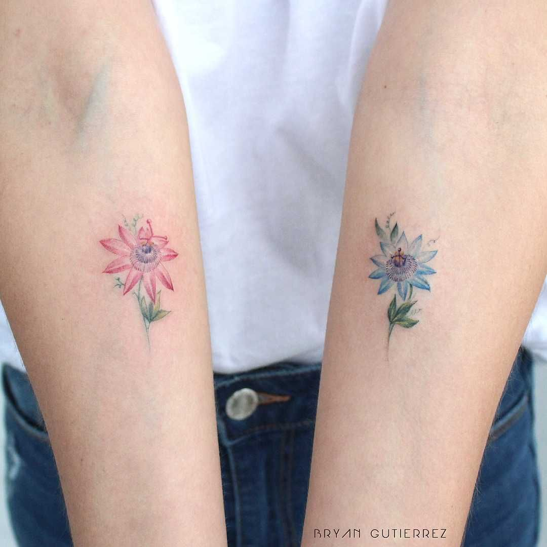 Passion Fruit Flower Tattoos Inked On Both Forearms By Bryan Gutierrez Pretty Flower Tattoos Floral Tattoo Shoulder Fruit Tattoo