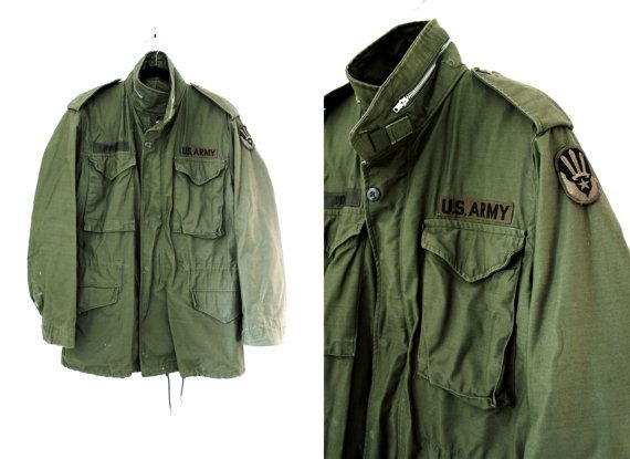 Vintage Men's Green Army Jacket - Vietnam War Veteran's Field ...
