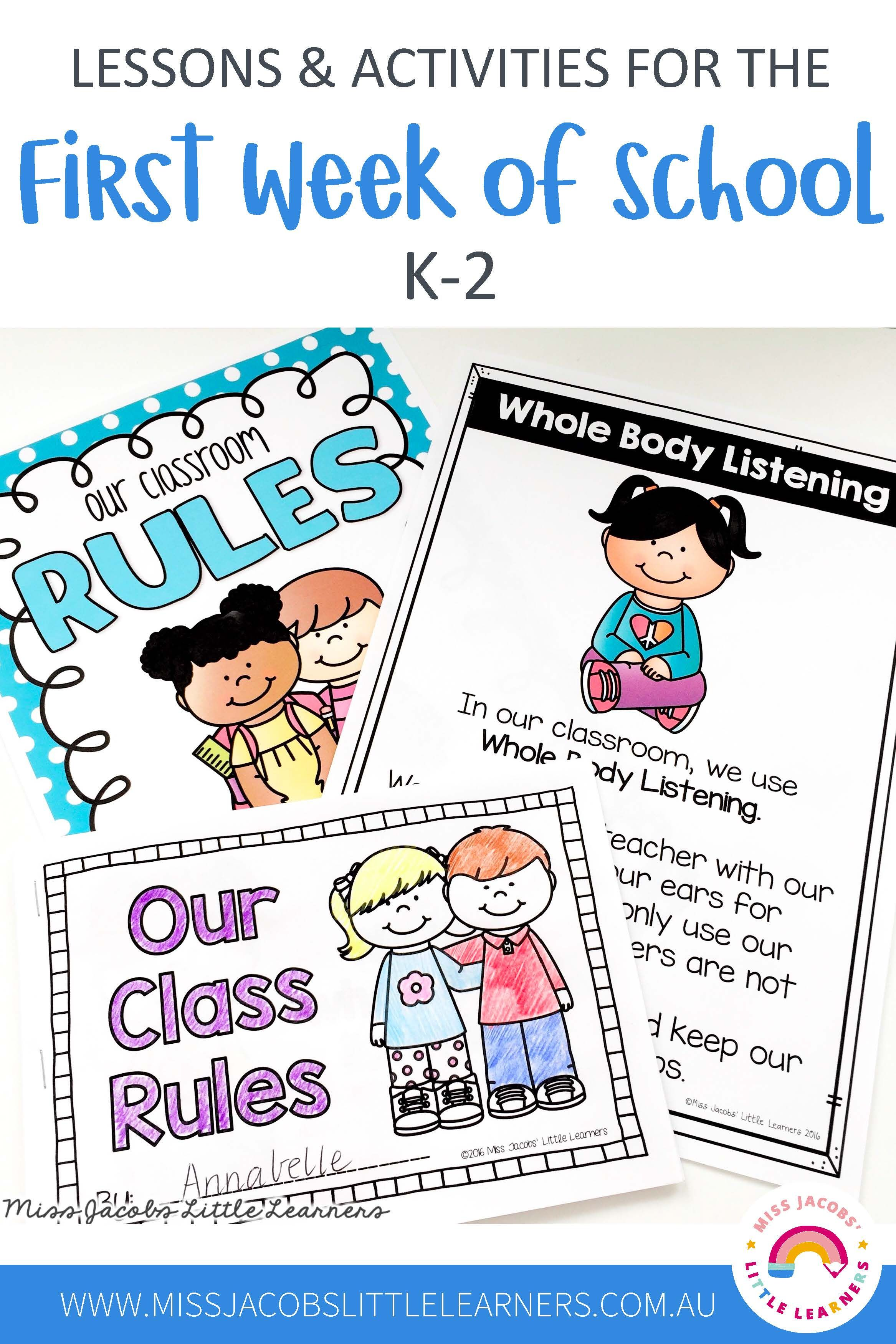 First Week Back To School Lesson Ideas And Activities In 2020 School Lessons First Day Of School Classroom Rules