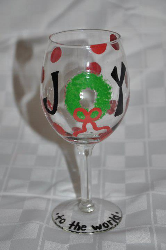Handpainted Wineglass  Joy to the World  $10  AAAllgood Crafts!
