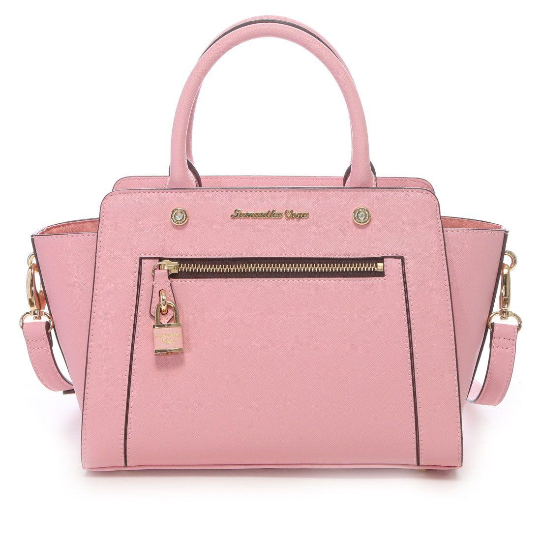 6511fc6a484f Samantha Thavasa サマンサベガ フロントジップトートバッグ 中(ベビーピンク) -靴とファッション