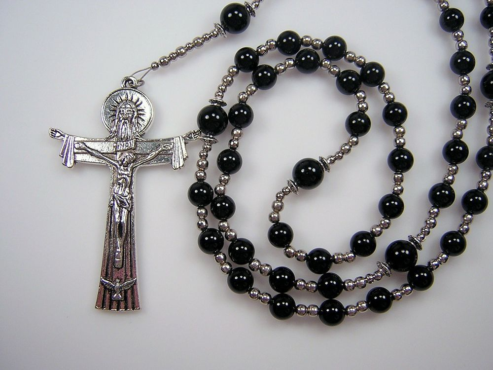 "Mens Rosary XLg Catholic Black Agate Gemstone 29"" Holy Trinity Masculino Rosario"