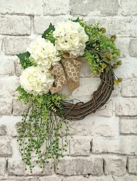 White Hydrangea Wreath, Spring Wreath, Front Door Wreath, Silk Floral Wreath, Outdoor Wreath, Grapevine Wreath, Wedding Wreath,Burlap,Summer