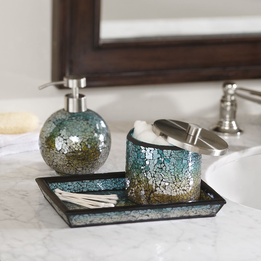 Beau Aqua Sparkle Mosaic Bathroom Accessories Set EBay