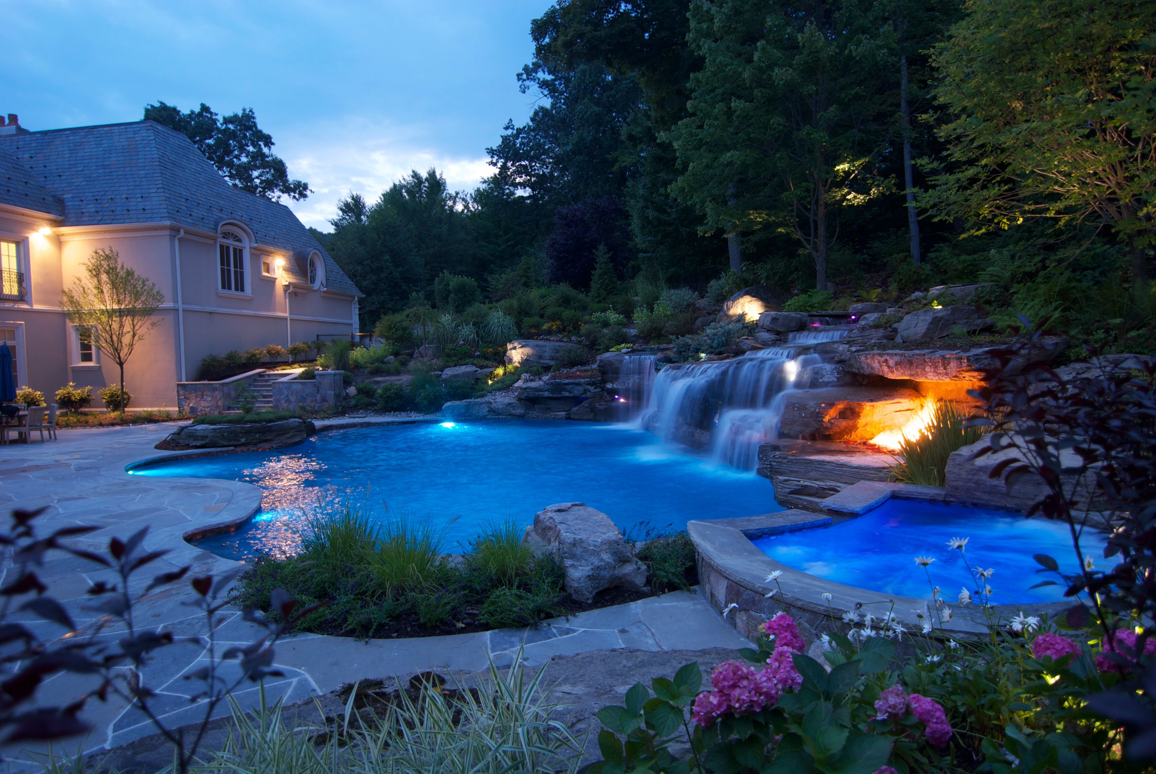 Pin By Jasmine Jackson On Outside Swimming Pool Landscaping Swimming Pool Waterfall Dream Backyard