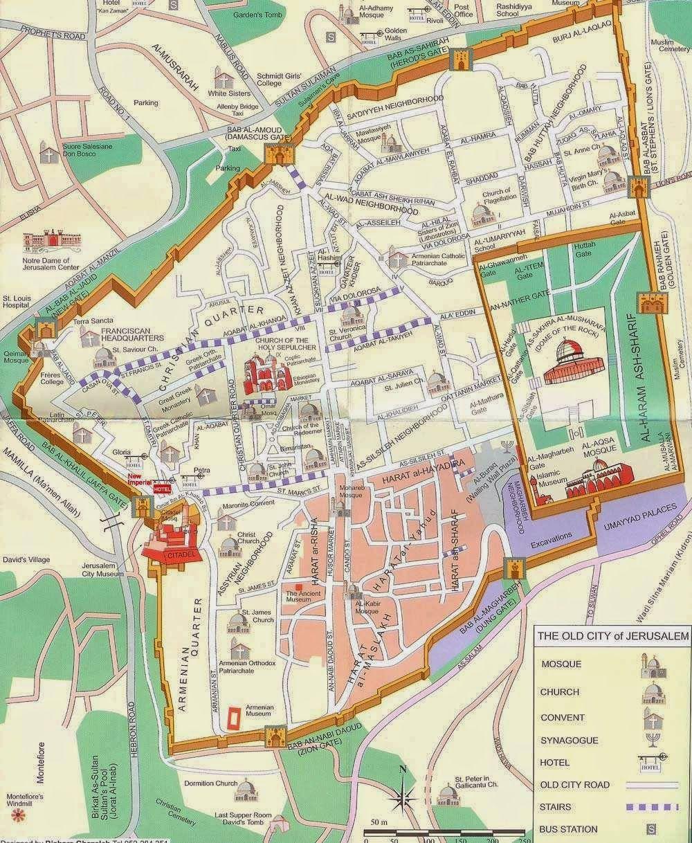 Map of Jerusalem Old City Walls and Jewish Quarter, Christian Quarter, Armenian  Quarter, and Muslim Quarter.