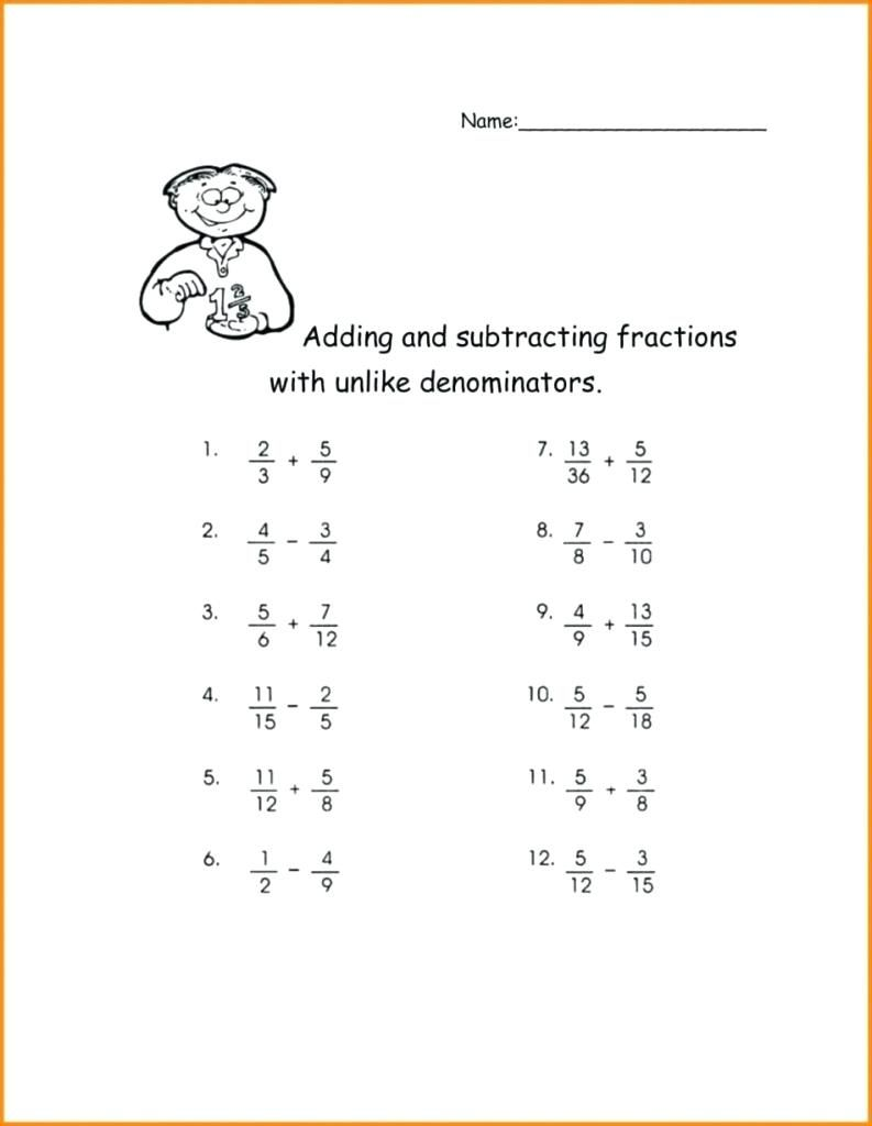 Adding Fractions Worksheets How To Subtract Unlike Denominators Math Grade Adding S Subtracting Fractions Adding And Subtracting Fractions Fractions Worksheets