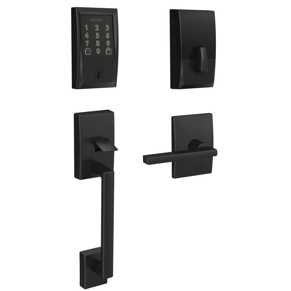 Schlage Century Encode Smart Wifi Door Lock With Alarm And Latitude Lever Handleset In Matte Black Fe489cen622lat The Home Depot In 2020 Wifi Door Lock Smart Door Locks Schlage
