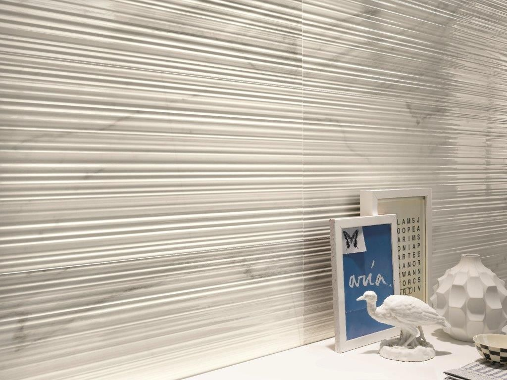 Mimica Bianco Ribbed In 2019 Stone Tile Flooring Wall