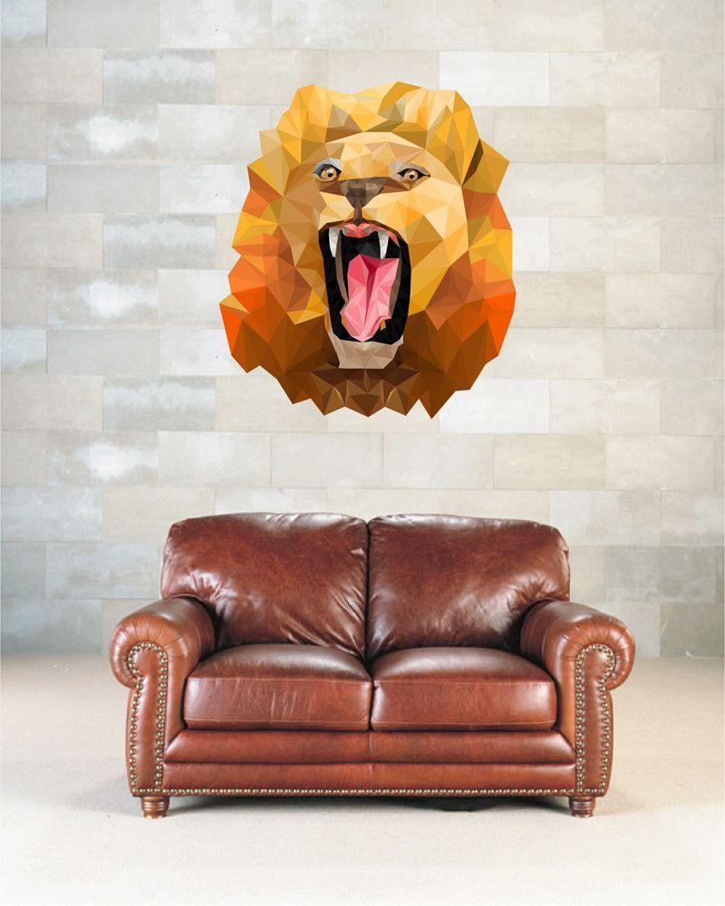 cik891 Full Color Wall decal head of a lion's roar animals living room bedroom