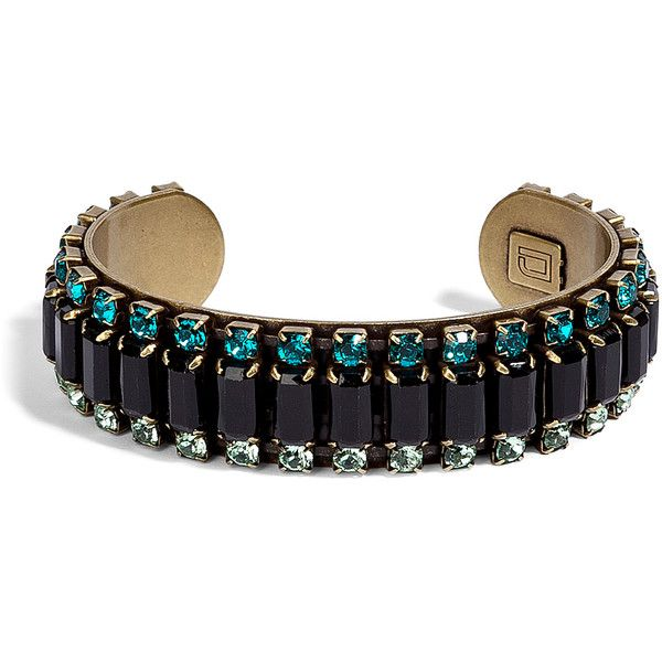 DANNIJO Mint/Turquoise Crystal Embellished Cuff ($375) ❤ liked on Polyvore